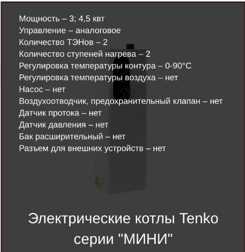 Основные характеристики электрических котлов Тенко серии Эконом мини