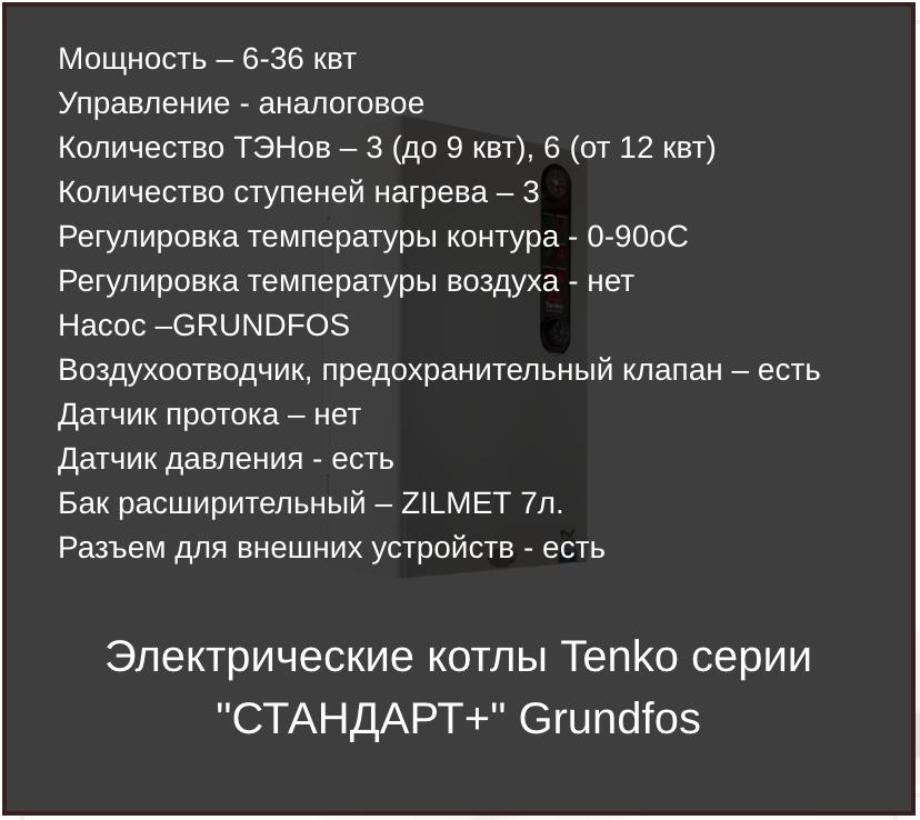 Основные характеристики электрокотлов Тенко серии Стандарт Плюс